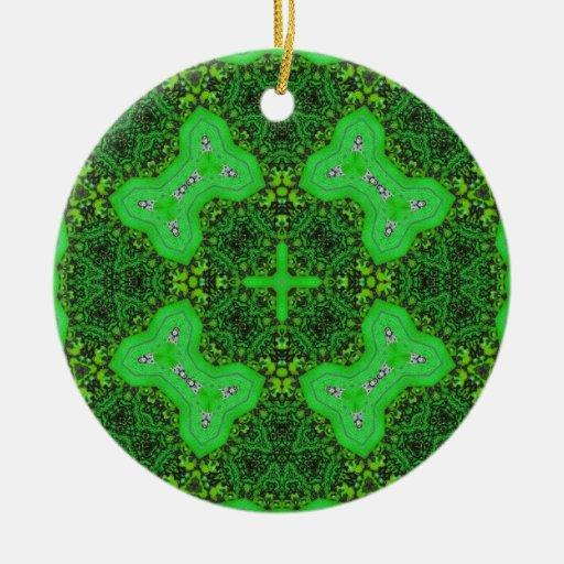 Modelo abstracto verde adorno navideño redondo de cerámica