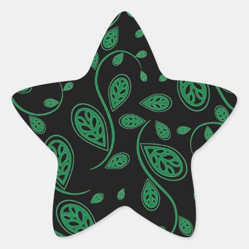 Modelo abstracto verde de la vid pegatina en forma de estrella