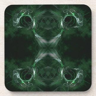 Modelo abstracto, verde oscuro del fractal posavasos de bebida
