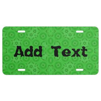 Modelo abstracto verde placa de matrícula