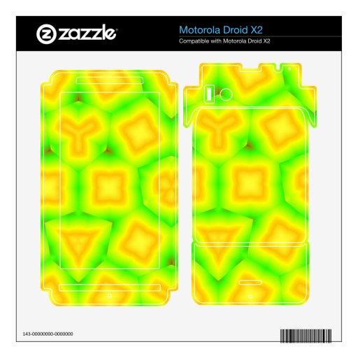 Modelo abstracto verde y amarillo motorola droid x2 skin