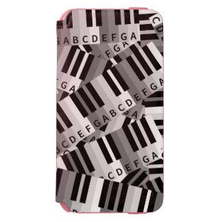 Modelo acodado del piano blanco y negro funda billetera para iPhone 6 watson