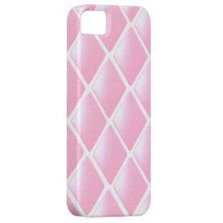 Modelo acolchado rosa del diamante funda para iPhone 5 barely there
