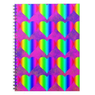 Modelo adolescente del arco iris de la diversión f libros de apuntes con espiral