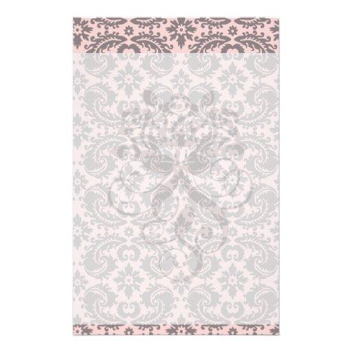 modelo adornado del damasco del tono rosado y gris papelería personalizada