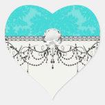 modelo adornado intrépido del damasco del azul de  calcomanías corazones personalizadas