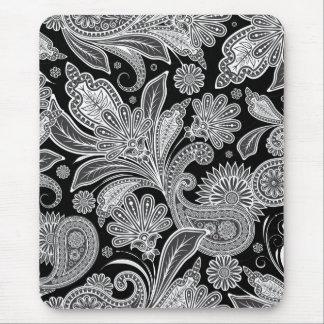Modelo adornado negro y blanco de Paisley Alfombrillas De Raton