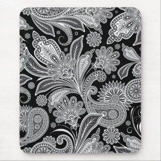 Modelo adornado negro y blanco de Paisley Alfombrilla De Ratón