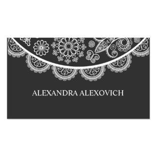 Modelo adornado negro y blanco del cordón tarjetas de visita
