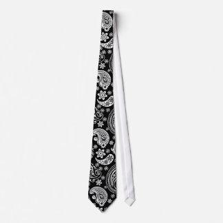 Modelo adornado retro negro y blanco de Paisley Corbatas