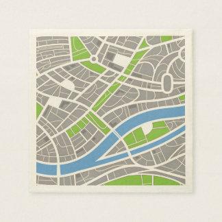 Modelo aéreo de las calles de la ciudad servilletas de papel