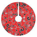 Modelo afiligranado rojo y negro de la voluta falda de árbol de navidad de poliéster