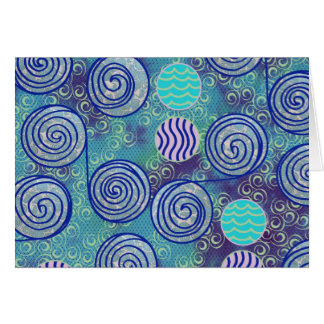 Modelo africano azul de la cera del teñido anudado tarjeta de felicitación