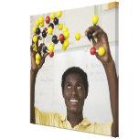 Modelo africano de la molécula de la visión del ad impresión en lona estirada