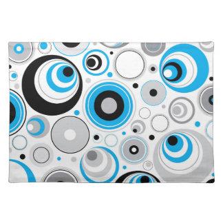 Modelo al azar blanco azul de los círculos manteles