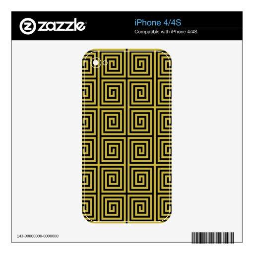 Modelo alineado retro del laberinto en amarillo skins para eliPhone 4