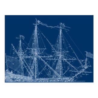 Modelo alto azul del velero tarjeta postal
