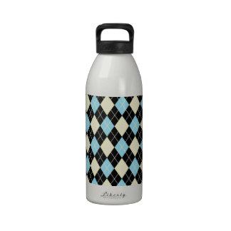 Modelo amarillo azul del argyle botella de agua reutilizable
