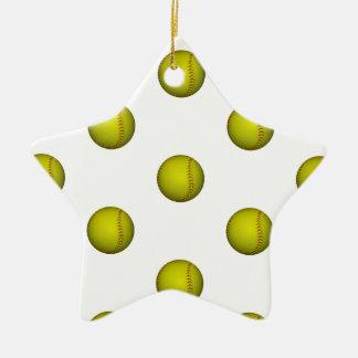 Modelo amarillo brillante del softball adorno navideño de cerámica en forma de estrella