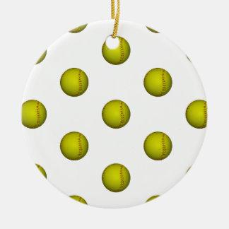 Modelo amarillo brillante del softball adorno navideño redondo de cerámica