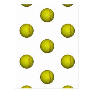 Modelo amarillo brillante del softball tarjetas postales