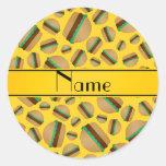 Modelo amarillo conocido personalizado de la etiquetas redondas
