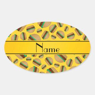 Modelo amarillo conocido personalizado de la pegatina ovalada