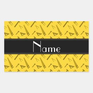 Modelo amarillo conocido personalizado de las herr rectangular pegatinas