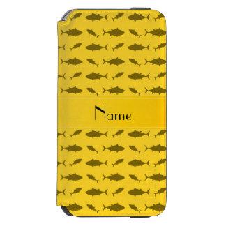 Modelo amarillo conocido personalizado del atún de funda billetera para iPhone 6 watson