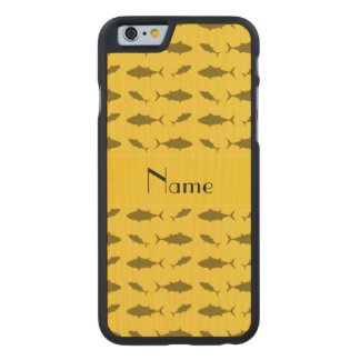 Modelo amarillo conocido personalizado del atún de funda de iPhone 6 carved® slim de arce