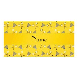 Modelo amarillo conocido personalizado del bádmint tarjetas fotográficas personalizadas