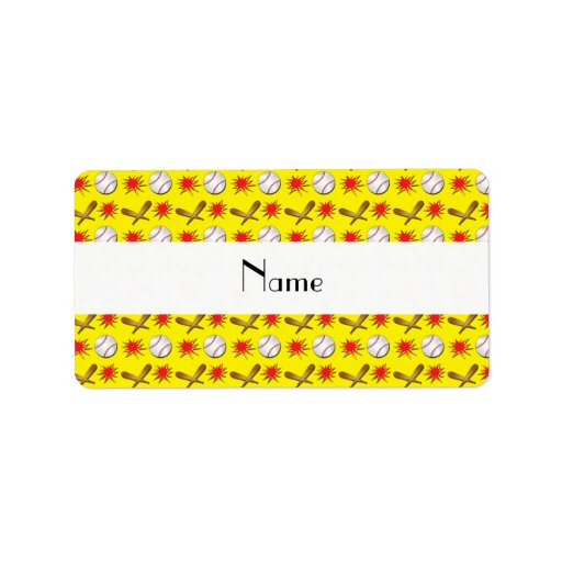 Modelo amarillo conocido personalizado del béisbol etiquetas de dirección