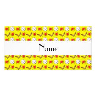 Modelo amarillo conocido personalizado del béisbol tarjeta fotográfica