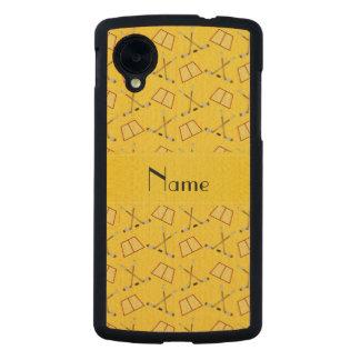 Modelo amarillo conocido personalizado del hockey funda de nexus 5 carved® de arce