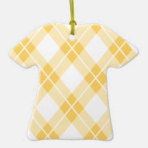 Modelo amarillo de Argyle Adorno De Cerámica En Forma De Playera