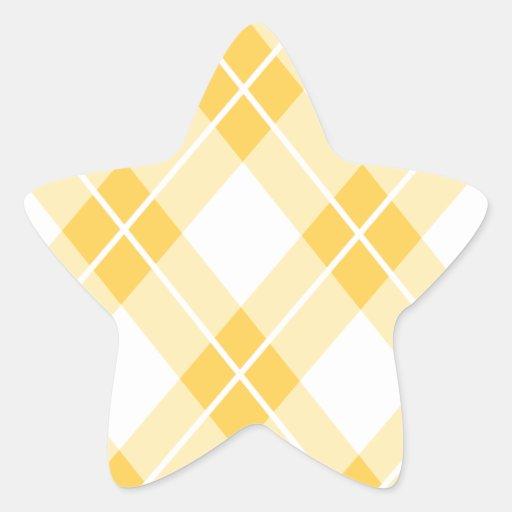 Modelo amarillo de Argyle Pegatina En Forma De Estrella