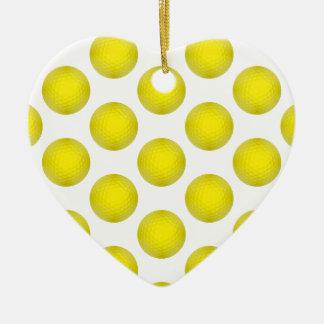 Modelo amarillo de la pelota de golf adorno navideño de cerámica en forma de corazón