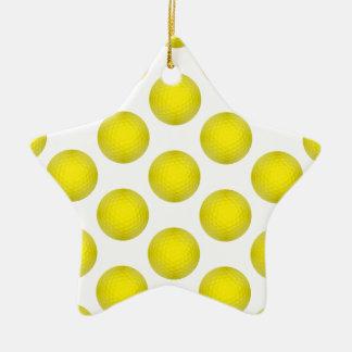 Modelo amarillo de la pelota de golf adorno navideño de cerámica en forma de estrella