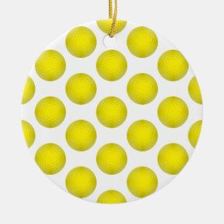 Modelo amarillo de la pelota de golf adorno navideño redondo de cerámica