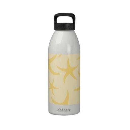 Modelo amarillo de las estrellas de mar botella de agua reutilizable