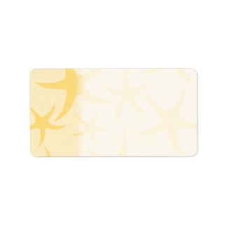 Modelo amarillo de las estrellas de mar etiquetas de dirección