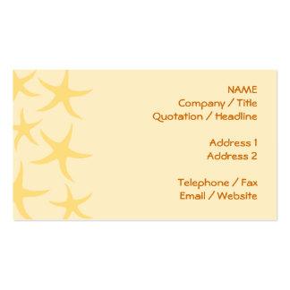 Modelo amarillo de las estrellas de mar tarjetas de visita