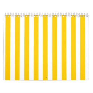 Modelo amarillo de las rayas de la diversión calendario