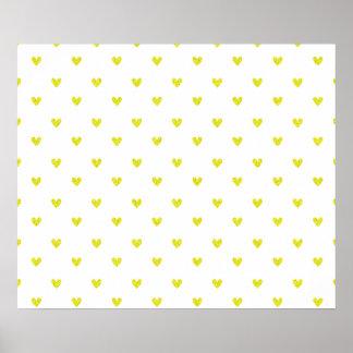 Modelo amarillo de los corazones del brillo posters