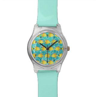 Modelo amarillo de los pescados relojes de pulsera