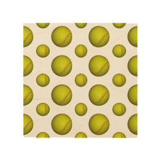 Modelo amarillo de neón del softball impresión en madera