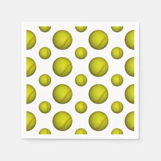 Modelo amarillo de neón del softball servilletas de papel