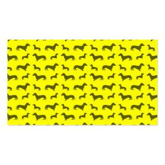 Modelo amarillo de neón lindo del dachshund tarjetas de visita