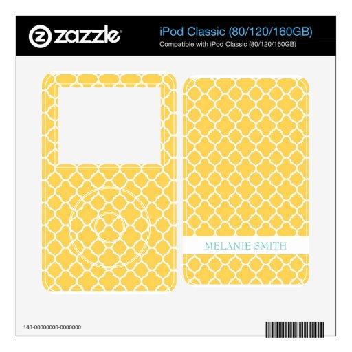 Modelo amarillo de Quatrefoil de la miel Calcomanía Para iPod