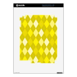 Modelo amarillo del argyle calcomanías para el iPad 2
